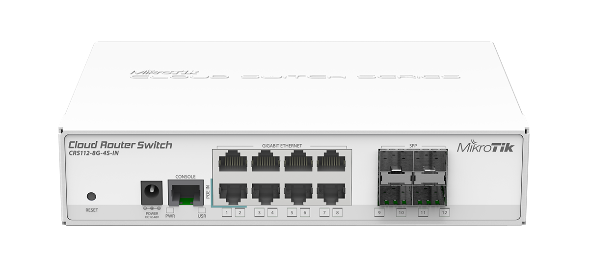 Mikrotik CRS112-8G-4S-IN Cloud Router Switch complete 4 SFP