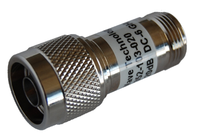 20dB fixed attenuator, N-Male to N-Female, 2 watt, 50 ohm, DC to 6GHz