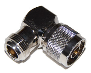 N Male to N Female Right Angle Adapter, Gold Plated Contacts
