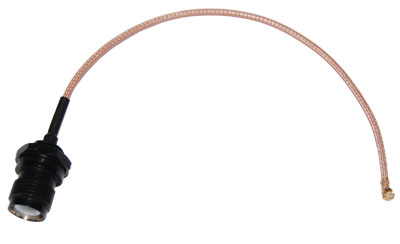 CA178-RTNCB-UFL-6 U.Fl to RP-TNC Female bulkhead pigtail cable  6 inches (155mm) long for 3/8 inch hole