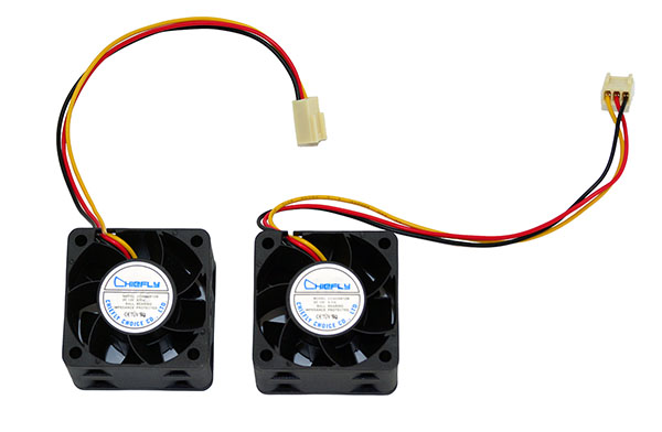One pair of Mikrotik OEM 40x20 DC 12V 0.16A ball bearing replacement fans for Mikrotik RB1100AHx2 routers.