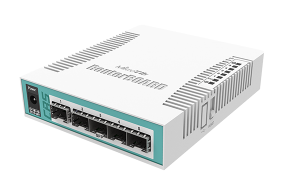 Mikrotik Cloud Router Switch CRS106-1C-5S complete 5 SFP ports plus 1 combination port 10/100/1000 layer 3 switch and router assembled with case and power supply - New!