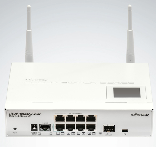 Mikrotik Cloud Router Switch CRS109-8G-1S-2HnD-IN complete 1 SFP port plus 8 port 10/100/1000 layer 3 switch and router with onboard radio assembled with case and power supply - New!