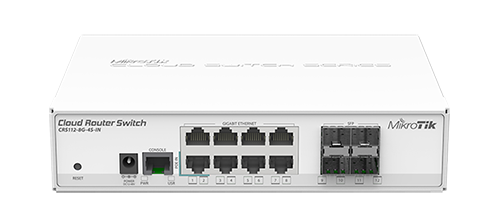 Mikrotik CRS112-8G-4S-IN Cloud Router Switch complete 4 SFP ports plus 8 port 10/100/1000 layer 3 switch and router assembled with case and power supply