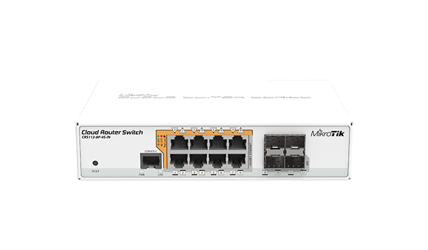 Mikrotik Cloud Router Switch CRS112-8P-4S - PoE out switch, 8 PoE out Gigbit Ethernet ports with 4 SFP cages in a desktop case - new!