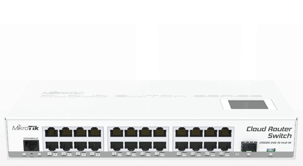 Mikrotik Cloud Router Switch CRS125-24G-1S-IN complete 1 SFP port plus 24 port 10/100/1000 layer 3 switch and router assembled with case and power supply - New!