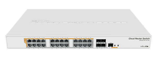 Mikrotik Cloud Router Switch CRS328-24P-4S+RM - PoE out switch, 24 PoE out Gigbit Ethernet ports with 4 SFP+ cages in a 1U rack mount case - New!