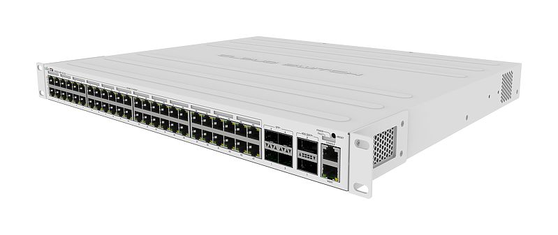 Mikrotik's new PoE Cloud Router PoE Switch CRS354-48P-4S+2Q+RM has 48 x 1G RJ45 ports, 4 x 10G SFP+ ports, and 2 x 40G QSFP+ ports in a 1U rackmount case - new!