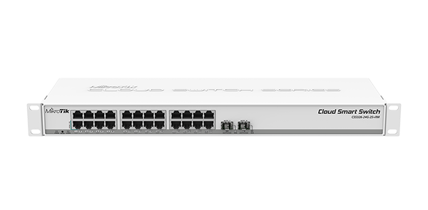 Mikrotik Cloud Smart Switch CSS326-24G-2S+RM is a SwOS powered 24 port Gigabit Ethernet switch with two SFP+ ports in a 1U rackmount case - New!