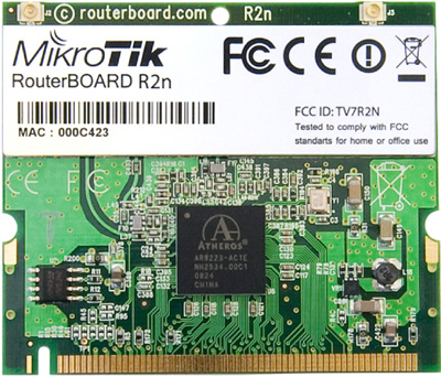 R2n Mikrotik 802.11b/g/n High Power MiniPCI card - 350mw output Atheros AR9223 chipset - New!