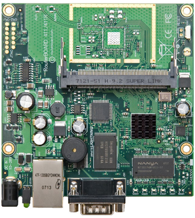 RB/411AH RB411AH Mikrotik RouterBOARD 411AH with Atheros AR7161 680MHz Network CPU (overclock to 800MHz), 64MB DDR RAM, 1 LAN, 1 miniPCI, 64MB NAND with RouterOS L4 - New
