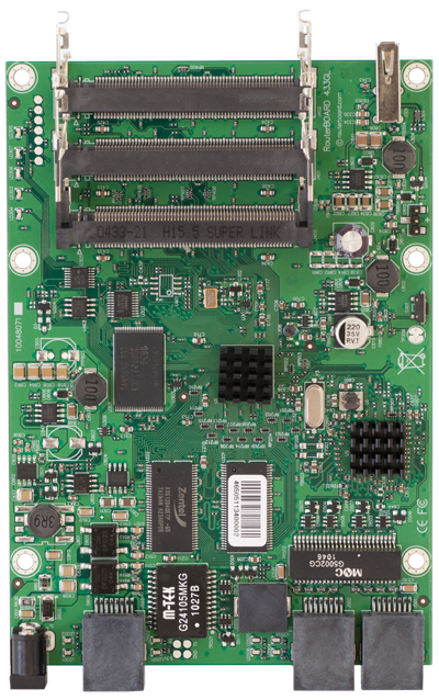 RB433UAHL RB/433UAHL Mikrotik RouterBOARD 433 with 680MHz Atheros CPU, 64MB DDR RAM, 3 LAN, 3 miniPCIe, 1 USB port, NAND, RouterOS L5