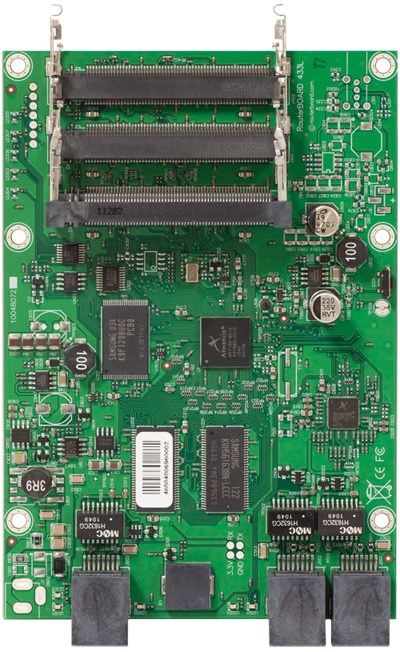 RB433L RB/433L Mikrotik RouterBOARD 433 with 300MHz Atheros CPU, 64MB DDR RAM, 3 LAN, 3 miniPCIe, NAND, RouterOS L4