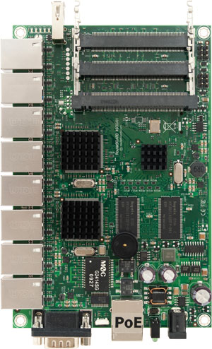 RB/493G RB493G Mikrotik RouterBOARD 493 with 680MHz Atheros AR7161 Network Processor, 256MB RAM, 9 Gigabit LAN, 3 miniPCI, USB, RouterOS L5 - New!
