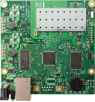 RB711A-5Hn-M Mikrotik RouterBOARD 711A with Atheros AR7240 400MHz CPU, 64MB DDR RAM, 5GHz 802.11a/n radio, and RouterOS L4
