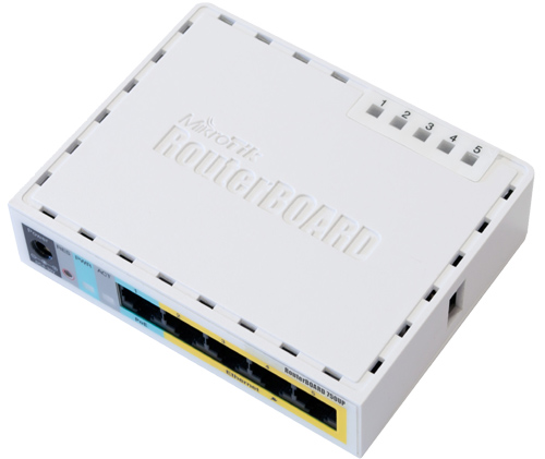 Mikrotik RouterBoard RB/750UP RB750UP  5 port 10/100 switch and/or router with PoE output on ports 2-5 - New revision!