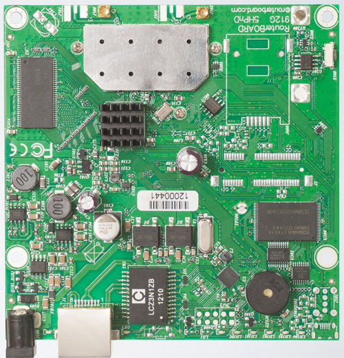 RB911G-5HPnD  (for US and Canada)  Mikrotik RouterBOARD 911G with Atheros AR9342 600MHz CPU, 32MB DDR RAM, 5GHz 802.11a/n dual chain radio, and RouterOS L3