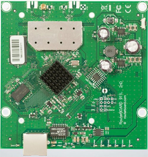 RB911-2Hn Mikrotik RouterBOARD 911 with Atheros AR9344 600MHz CPU, 64MB DDR RAM, 2.4GHz 802.11b/g/n single chain radio, and RouterOS L3 - New!