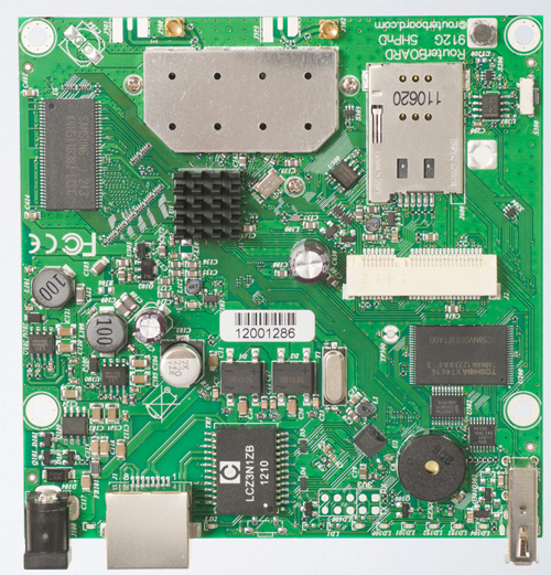 RB912UAG-5HPnD (for US and Canada) Mikrotik RouterBOARD 912G with Atheros AR9342 600MHz CPU, 64MB DDR RAM, 5GHz 802.11a/n dual chain radio, and RouterOS L4