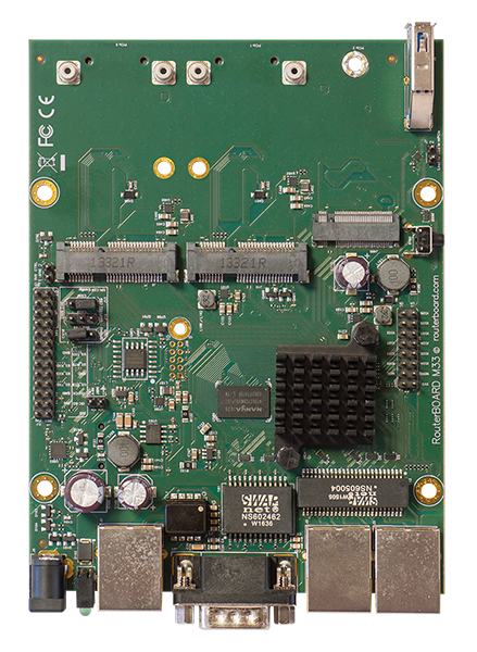 RBM33G Mikrotik RouterBOARD M33G with MediaTek MT7621A Dual Core 880MHz CPU, 256MB DDR3 RAM, 3 Gigabit LAN, 2 miniPCIe, 1 SIM card slot, 1 USB 3.0, 1 RS232 serial port, 16MB NAND with RouterOS L4 - New!