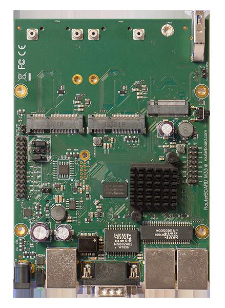 RBM33G Mikrotik RouterBOARD M33G with MediaTek MT7621A Dual Core 880MHz CPU, 256MB DDR3 RAM, 3 Gigabit LAN, 2 miniPCIe, 2 SIM slots, 1 USB 3.0, 1 RS232 serial port, 16MB NAND with RouterOS L4 - New!
