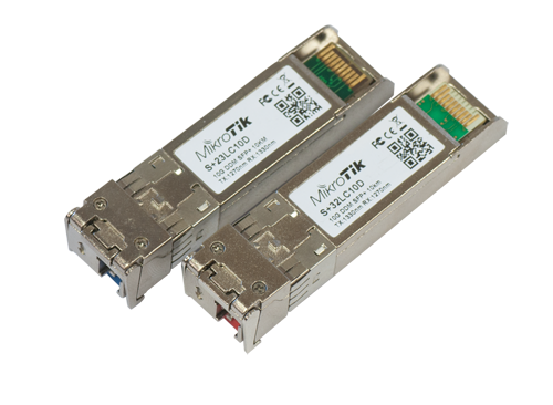 Mikrotik SM 1310nm 10G SFP+ enhanced single-mode fiber Module pair with single LC-type connector and DDM - New!