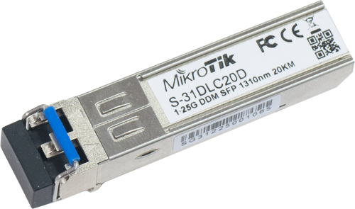 Mikrotik SM 1310nm single-mode fiber 1000BASE-SX Module with dual LC-type connector and DDM