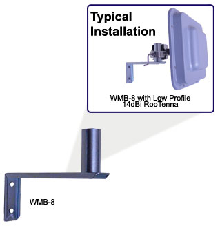 "WMB Wall Mount Bracket  Attach a pole mount antenna to a wall.  8"" standoff from the wall with 1.25"" mount diameter"