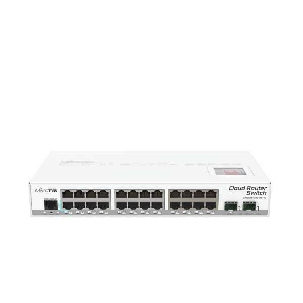 Mikrotik Cloud Router Switch CRS226-24G-2S+IN complete 2 SFP+ cages plus 24 port 10/100/1000 layer 3 switch and router assembled with case and power supply - New!