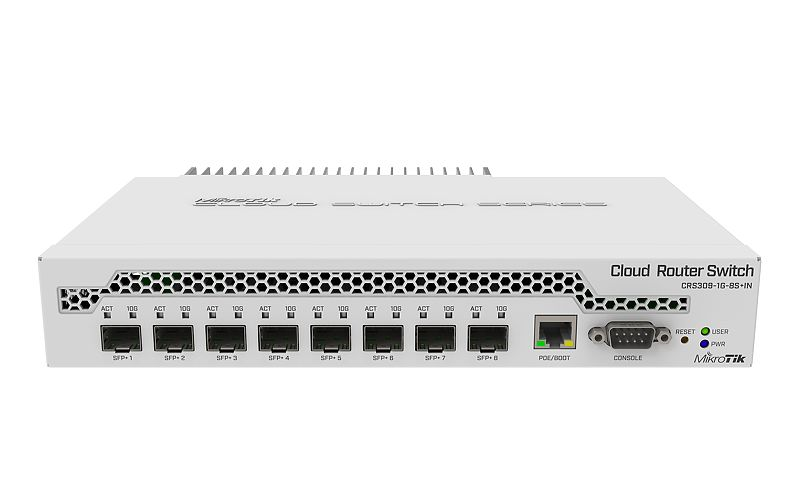 Mikrotik Cloud Router Switch CRS309-1G-8S+IN complete 8 SFP+ ports plus 1 Gigabit Ethernet port layer 3 switch and router assembled in metal case with power supply - New!