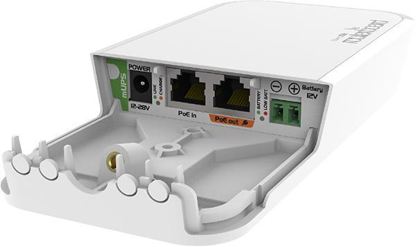 The Mikrotik mUPS is a PoE injector with battery backup capability with a 12 V battery connector.