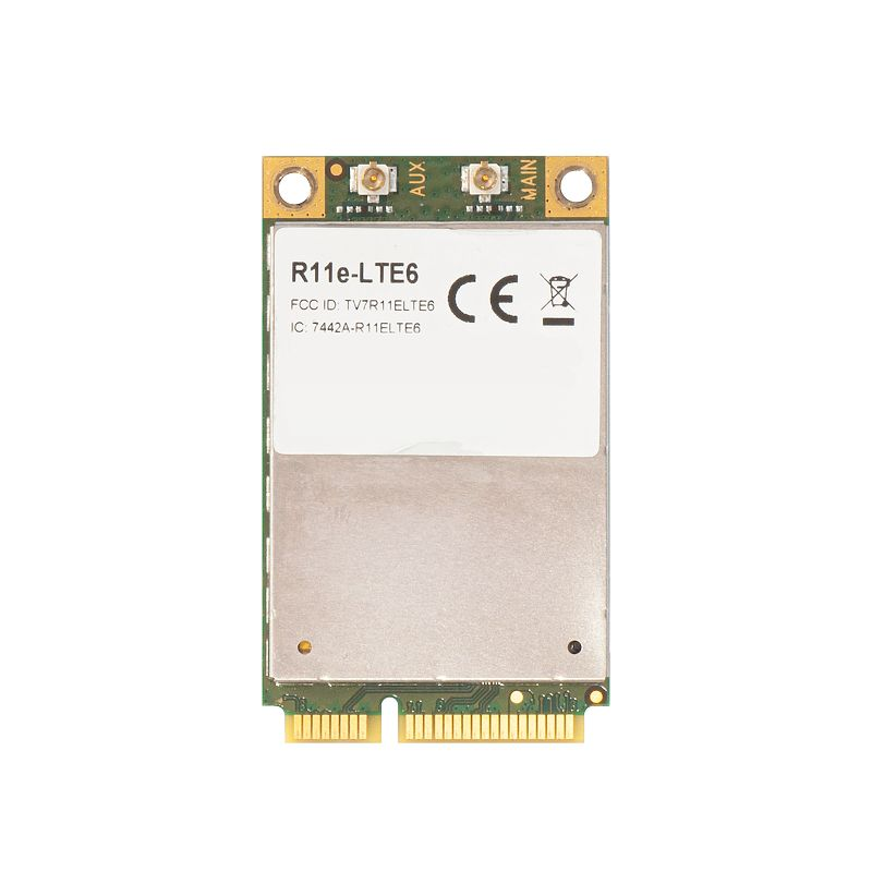 Mikrotik R11e-LTE6 2G/3G/4G/LTE miniPCI-e card with carrier aggregation support (up to 300 Mbps) for bands 1/2/3/5/7/8/12/17/20/25/26/38/39/40/41n - refurbished