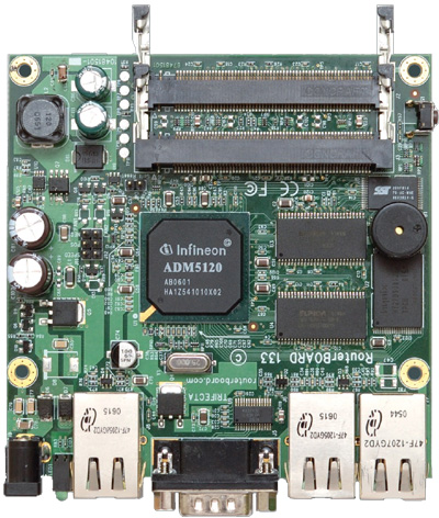 RB/133 RB133 Mikrotik RouterBOARD 133 with 175MHz MIPS CPU, 32MB SDRAM, 3 LAN, 3 miniPCI slots, 128MB NAND, RouterOS L4 - EOL (End of Life)