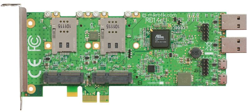 RB14eU MikroTik RouterBOARD 14eU miniPCI-e to PCI-e adapter with USB (4-slot miniPCI-e adapter)