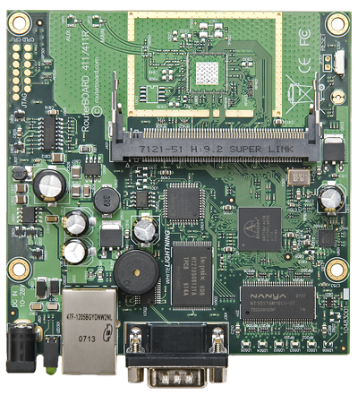 RB/411 RB411 Mikrotik RouterBOARD 411 with 300MHz AR7130 CPU, 32MB DDR RAM, 1 LAN, 1 miniPCI, 64MB NAND with RouterOS L3