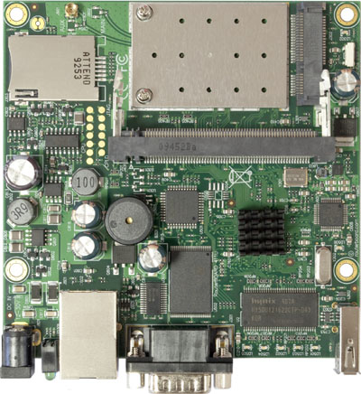 RB/411UAHR RB411UAHR Mikrotik RouterBOARD 411 with 680MHz AR7161 CPU, 64MB DDR RAM, 1 LAN, 1 miniPCIe, 1 USB, 64MB NAND, 802.11b+g radio, RouterOS L4