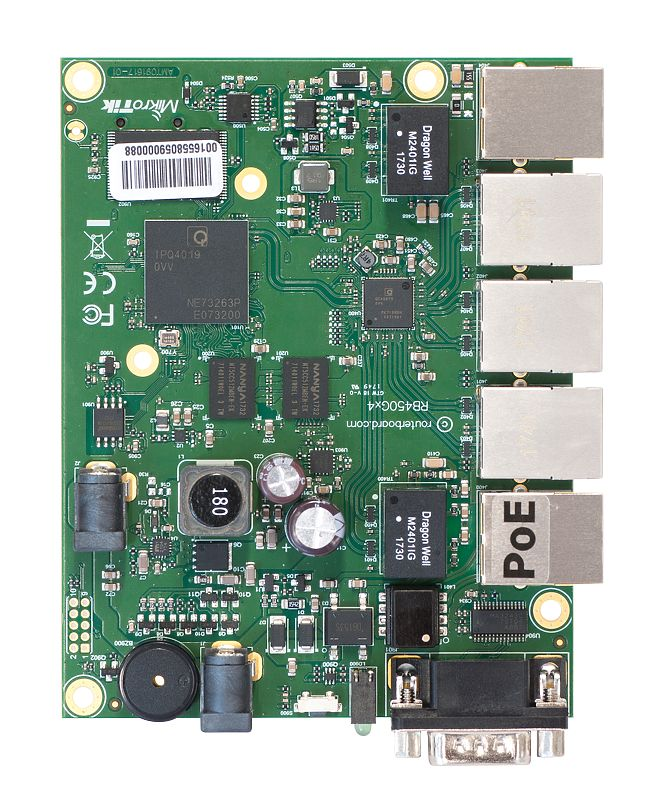 RB450G RB450Gx4 Mikrotik RouterBOARD 450Gx4 with 716MHz Quad Core ARM CPU, 1GB RAM, 512MB FLASH, 5 10/100/1000 ethernet ports, RouterOS L5 - New!