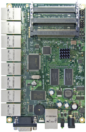 RB/493 RB493 Mikrotik RouterBOARD 493 with 300MHz Atheros AR7130 Network Processor, 64MB RAM, 9 LAN, 3 miniPCI, RouterOS L4 - New!