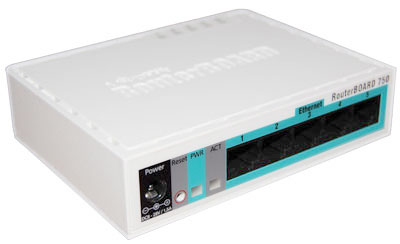 Mikrotik RouterBoard RB/750 RB750  5 port 10/100 switch and/or router in molded plastic case with power supply