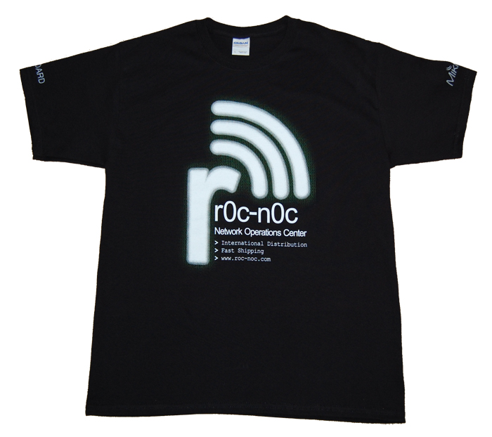 Mikrotik RouterBoard rOc-nOc custom Black T-Shirt, Gildan Ultra 100% Cotton, Pre-Shrunk