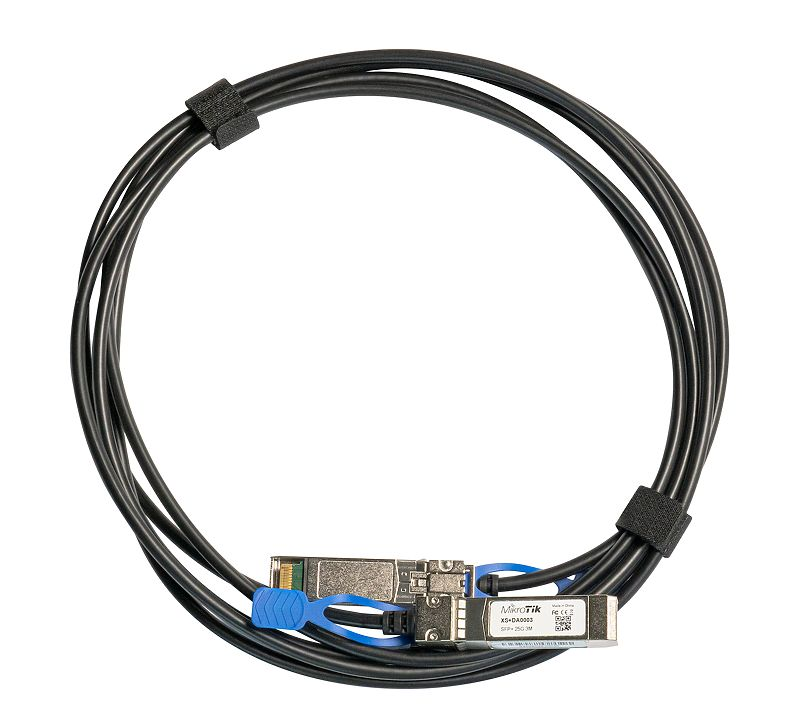 Mikrotik 3m direct attach cable that supports not only SFP 1G and SFP+ 10G, but also the 25G SFP28 standard! - New!