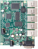 RB/450 RB450 Mikrotik RouterBOARD 450 with 300MHz Atheros AR7130 CPU, 32MB RAM, 5 10/100 ethernet ports, RouterOS L5