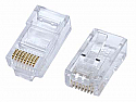50 pieces - RJ45 8P8C Gold Plated (50 micro in.) Cat5e crimp connector for solid wire with round cable entry